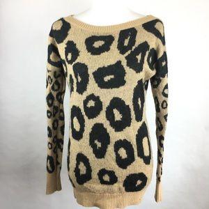 Express Brown Cheetah Print Sweater